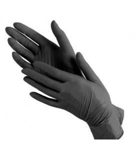 Перчатки нитриловые черные без пудры SFM размер XS 100 шт