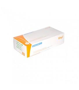 Перчатки виниловые с пудрой Medicom размер S 100 шт (1130-А/1128А)